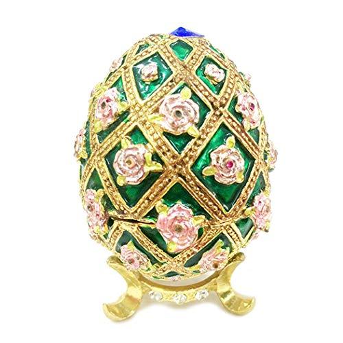 HAOCHIDIAN Metallic Jewelry Trinket Box European High Grade Hand-Painted Vintage Style Jewelry Storage Box Egg Shape Jewelry Organizer for Birthday Wedding Gifts from HAOCHIDIAN