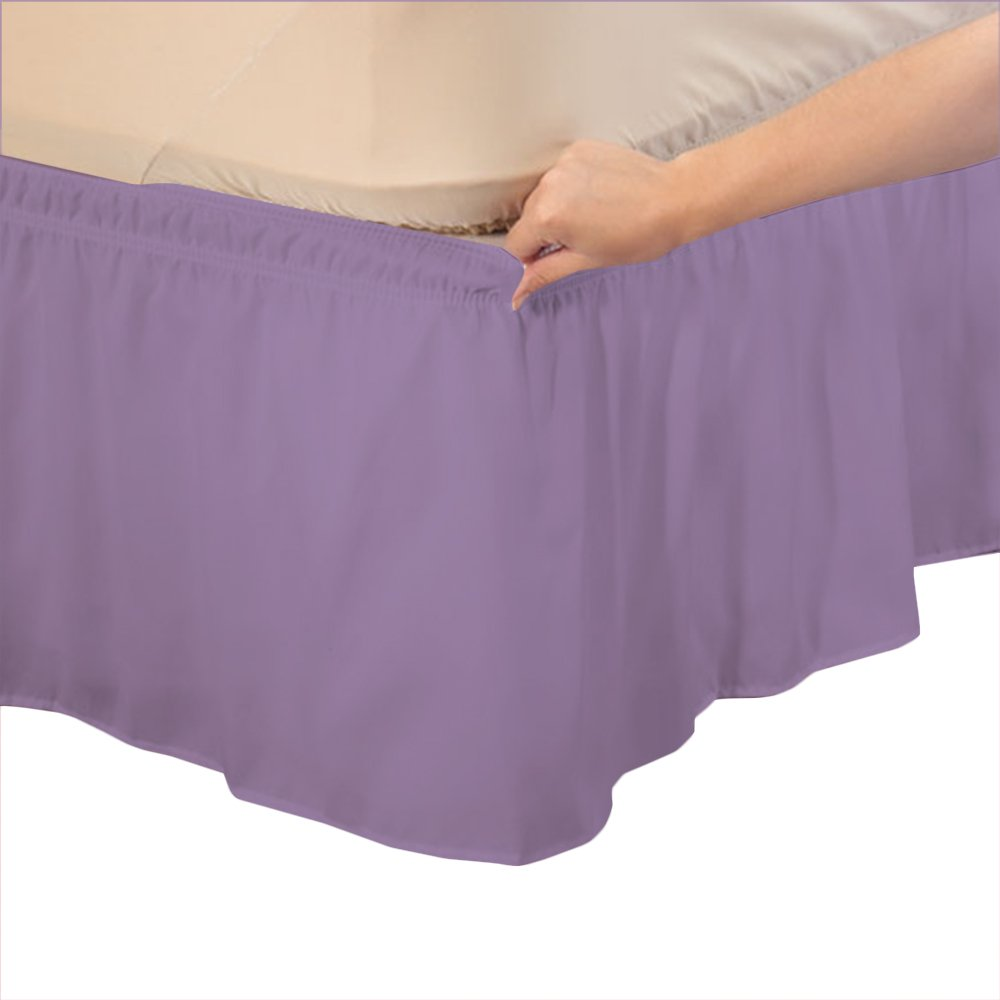Relaxare Short King 800TC 100% Egyptian Cotton Lilac Solid 1PCs Wrap Around Bedskirt Solid (Drop Length: 17 inches) - Ultra Soft Breathable Premium Fabric