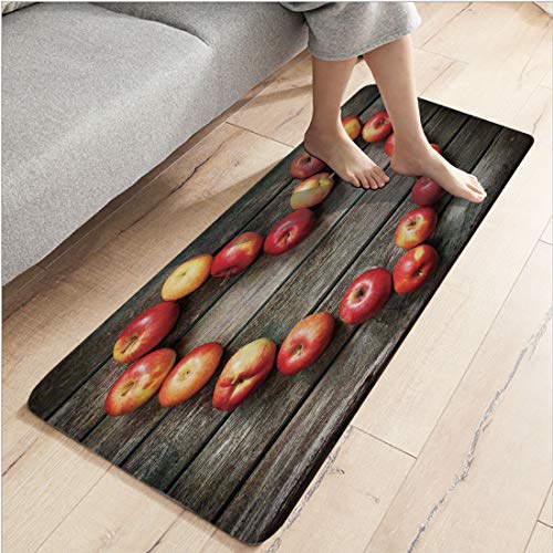 Apple Rustic (Flannel Indoor Modern Anti-skid carpet Printed block bathroom carpet,19.69