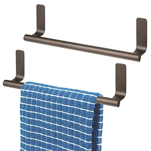 (mDesign Decorative Metal Kitchen Self-Adhesive, Wall Mount Towel Bar - Storage and Display Rack for Hand, Dish and Tea Towels - Stick on Inside or Outside of Doors, 9