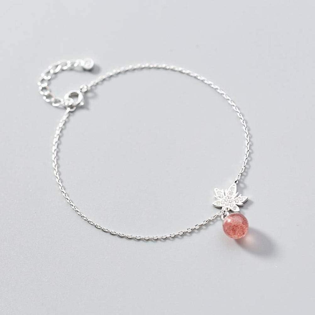 WOZUIMEI S925 Pulsera de Plata Mujer Deja Japón Y Corea Del Sur Estilo de Moda Pulsera de Diamantes Joyas de Cristal Estilo Joyería de Fresas DulcesAjorca para el tobillo, Plata 925