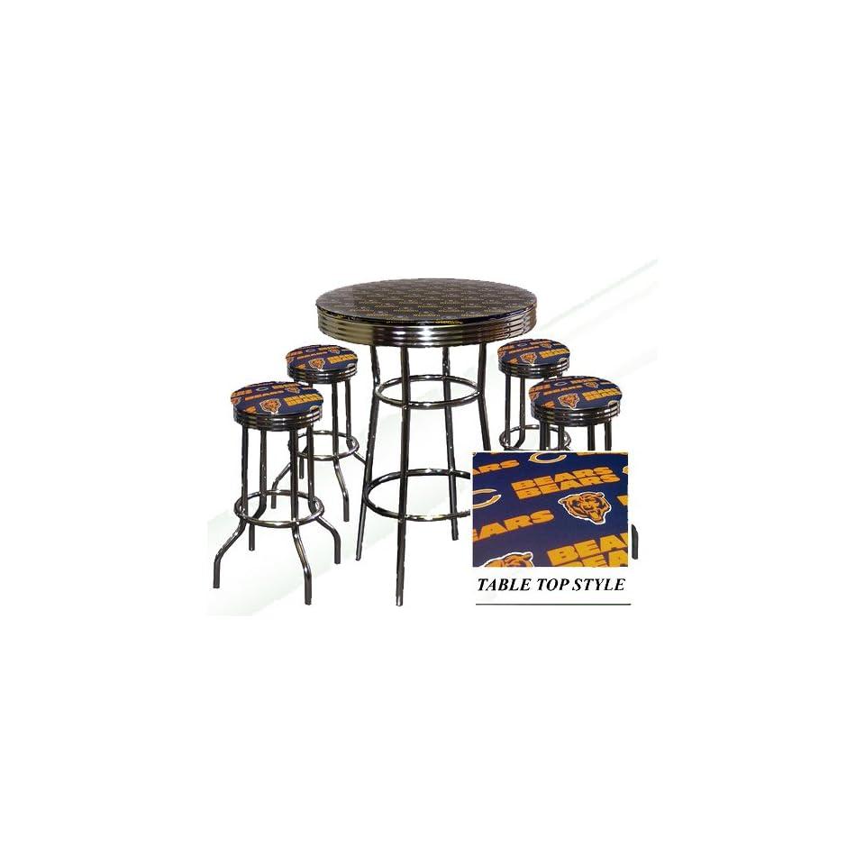 CHICAGO BEARS NFL Football Glass Top Chrome Bar Pub Table Set With 4 Swivel Bar Stools   Home Bars