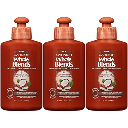 Garnier Hair Care Whole Blends Smoothing Leave-In Conditioner with Coconut Oil & Cocoa Butter Extracts, 10.2 Fluid Ounce (Pack of 3)