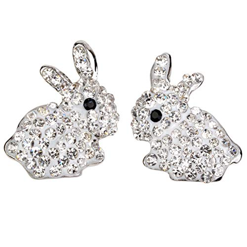 Hiddleston Bunny Ears Stud Crystal Earrings White Silver Rabbit Baby Charms with Tail Easter Gift for Women Teen Girl Kid Toddler ()