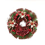YJBear Red Berry Christmas Ball Bowknot Lush Mixed Artificial Merry Christmas Wreath Spring Front Door Wreath Display Garland Farmhouse Wall Show Window Decor Home Decoration,Red,11.8-Inch