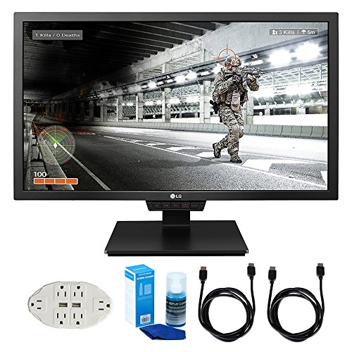 "Price comparison product image LG 24GM79G-B 24"" Widescreen LED Gaming Monitor w/ Accessories Bundle Includes, Transformer Tap USB w/ 6-Outlet Wall Adapter & 2 Ports, 2x 6ft. HDMI Cable & Universal Screen Cleaner for LED TVs"