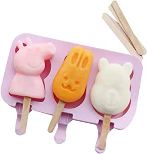 OJAN LAMU homemade DIY Ice cream mold, Ice Pop Maker, Ice cream Containers, popsicle, easy to use, clean, remove (1 piece with a cover and 50 wooden stickers )