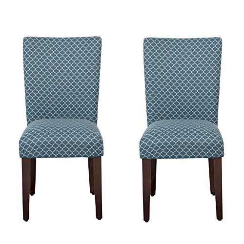 Chair Upholstered Parson Classic (HomePop Parsons Classic Upholstered Accent Dining Chair, Set of 2, Blue and Cream)