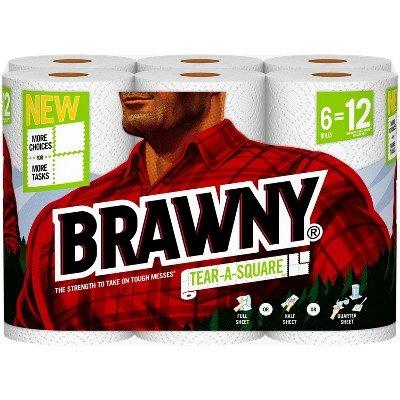 Brawny Tear-A-Square Paper Towels - 6 Rolls
