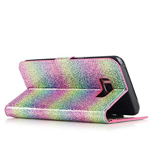 Galaxy S8 Plus Carcasa, Vandot Diamante PU Leather Cuero Cobertura Bookstyle Wallet Cubierta Caja Glitter Bling Diamond Carcasa Con [Flip Case Cover] [Cierre Magnético] [Función de Soporte] [Billetera ZPT 36