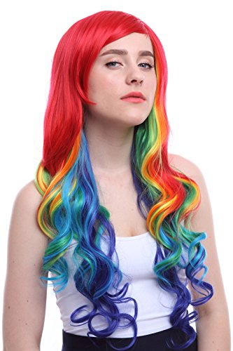 [Nuoqi Womens Rainbow Multi Color Anime Curly Wave Cosplay Wig] (Sexy Halloween Costumes Canada)