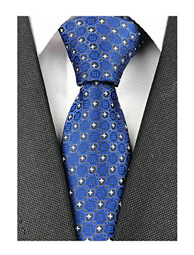 Men Boys Bright Blue Jacquard Woven Novelty Silk Tie Office Ball Party Unique Necktie New Year ()
