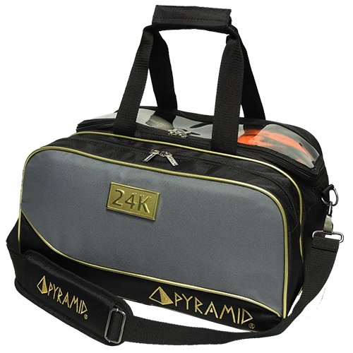 Pyramid Path Double Tote Plus Clear Top Bowling Bag (Black/Gold/Grey) (Shoes 2 Bowling)