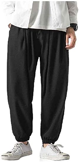Candiyer Men's Big & Tall Long Pants Cotton Linen Ethnic Style Palazzo Trousers