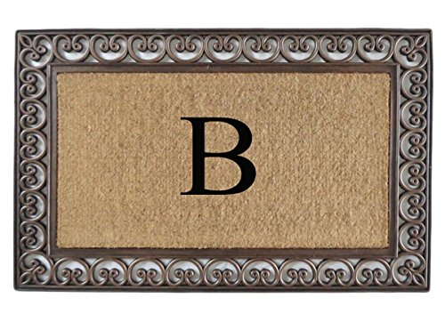 Decorative Double Mats (A1 Home Collections Rubber and Coir Classic Paisley Border, Double Doormat, Monogrammed B, X-Large)
