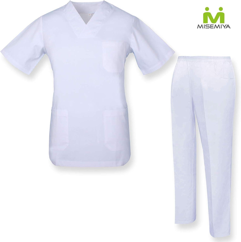 Casaca Y PANTAL/ÓN Sanitarios Unisex Uniformes Sanitarios M/ÉDICOS Conjuntos Sanitarios 817-2 Blanco MISEMIYA S
