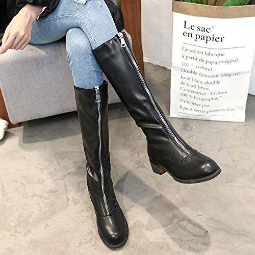 LCCYJ Botas para Mujer Cremallera Frontal Tacón Grueso Botas MartinBotas Zapatillas Casual para Mujer Cálido, Antideslizante, Impermeable y Resistente al Desgaste,Negro,36  iFt30