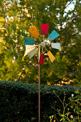 Stake Rainbow - Alpine Corporation Metal Windmill Stake - Kinetic Spinner - Outdoor Yard Art Decor - Multi-Color - 12