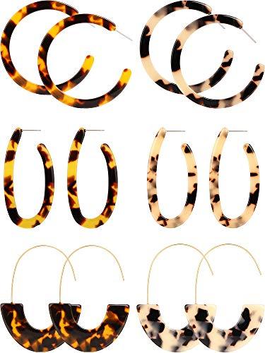 Tatuo 6 Pairs Geometric Acrylic Earrings Bohemian Statement Earrings Mottled Resin Drop Dangle Ear Jewelry for Women Girls Favors (Color Set 4) ()
