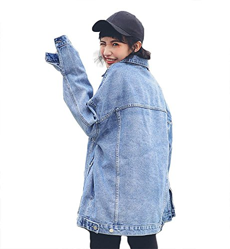 mujer chicas suelto chaqueta vaquera estilo boyfriend chaqueta de mezclilla vintage, S-L blue