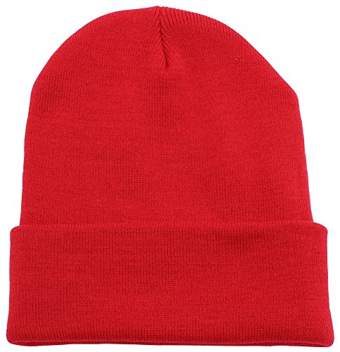 Top Level Unisex Cuffed Plain Skull Beanie Toboggan Knit Hat/Cap, Red