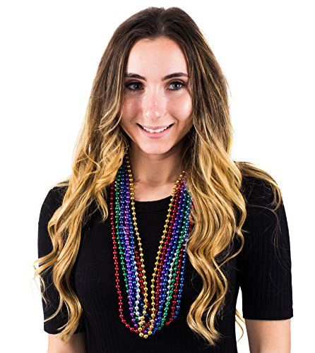 Mardi Gras Beads Necklaces – Party Costumes Accessories 144 Pc by Funny Party Hats