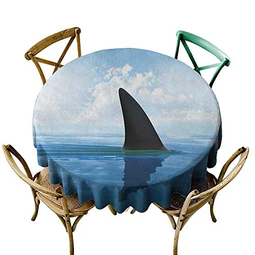 Wendell Joshua Navy Blue Tablecloth 54 inch Shark,Shark Fish Fin Over The Sea Surface Danger Caution Themed Picture, Grey Violet and Pale Blue Kitchen Dining Room Restaurant Party Decoration -