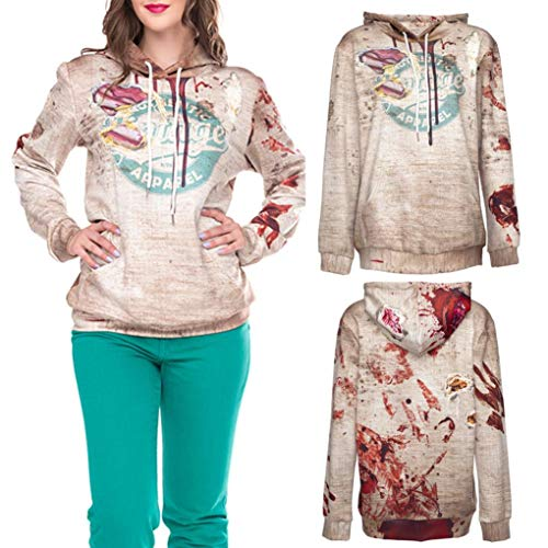 Clearance!! Women Halloween Long Sleeve Tops GoodLock Letter Print Party Pullover Blouse Hooded Sweatshirt (X-Large, Beige) by GoodLock