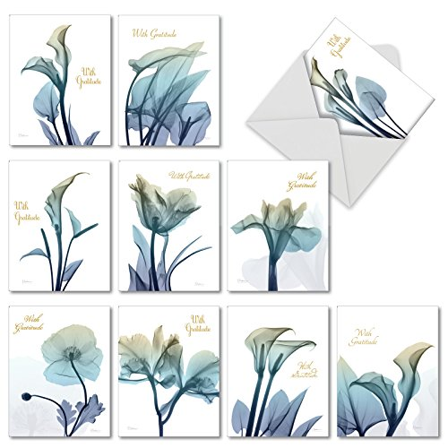 10 Boxed 'Blooming Expressions' Thank You Sympathy Note Cards w/Envelopes - Assorted Blue Flower Greeting Cards - Gratitude Floral Stationery Notecards (4 x 5.12 Inch)