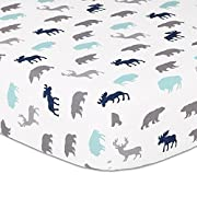 Woodland Trail Animal Silhouette Navy Aqua Grey Forest Theme Fitted Crib Sheet