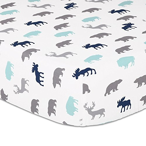 Woodland Trail Animal Silhouette Navy Aqua Grey Forest Theme Fitted Crib Sheet - Shell Bear