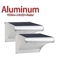 Licwshi 450 lumens lampe solaire 24 LED avec coque en alliage d'aluminum, imperméable en plein air, radar-détection de mouvement, s'appliquant au porche, jardin, cour, garage (2 Pack)