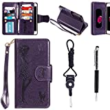 """Sony Xperia Z3 Case, SsHhUu Premium PU Leather Folio Wallet [Magnetic] [Stand] [9 Card Slot] Flip Protective Slim Cover Case + Stylus Pen + Lanyard for Sony Xperia Z3 D6653 (5.2"""") Purple"""