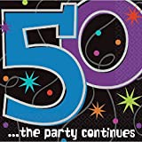 "The Party Continuous 50th Birthday Party Luncheon Napkins Tableware, Pack of 16, Multi , 6.5"" x 6.5"" Paper"