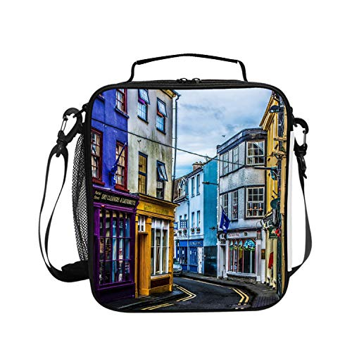 (Large Lunch Box Street Lane Colorful Turn Insulated Adult Lunch Bag Reusable Cooler Tote Bag 1 Main Spacious Compartments)