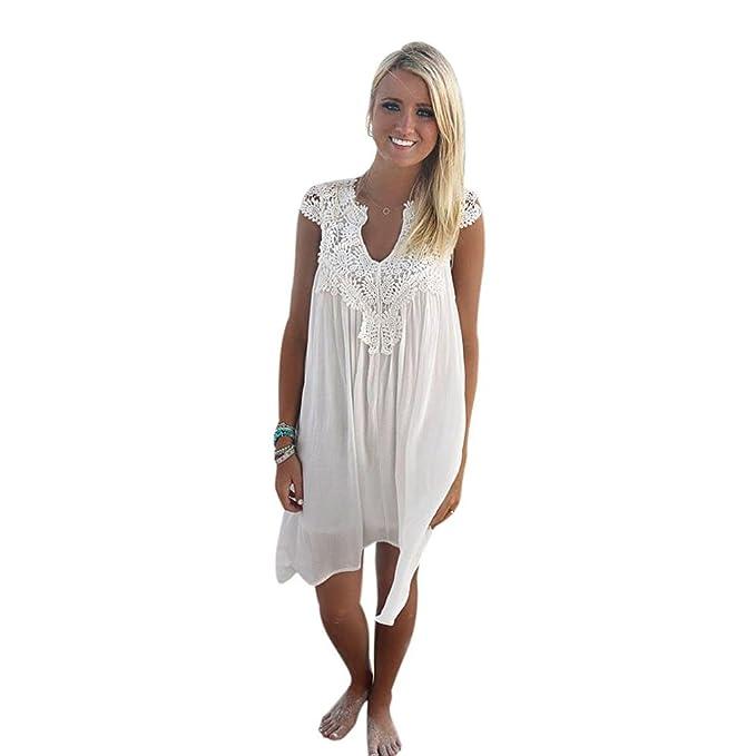 Vestidos Mujer Verano Corto ❤ Amlaiworld Vestido de Fiesta Vestido de Encaje de Playa Flojo sin Mangas Boho para Mujer Camisa Vestidos Mujer Casual ...