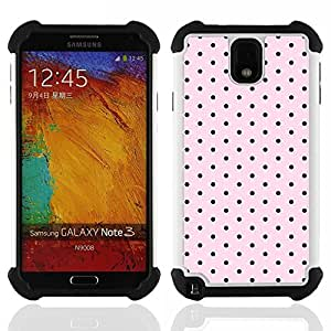 """SAMSUNG Galaxy Note 3 III / N9000 / N9005 - 3 en 1 impreso colorido de Altas Prestaciones PC Funda chaqueta Negro cubierta gel silicona suave (Modelo de lunares rosado Negro Band Aid"""")"""