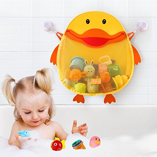Safe&Care Bath Toy Organizer, Bathroom Toy Net Bag Baby Bath Toy Storage Mesh Net for Toddler Bath Toys Quick Dry Mildew Free/Antibacterial/Odorless Cute Duck with Two Heavy Duty Suction (Holder Ceramic Mold)