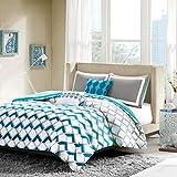 Intelligent Design Finn Comforter Set Full/Queen Bedding Sets - Blue, Geometric – 5 Piece Teen Bed Set – Peach Skin Fabric Bed Comforter