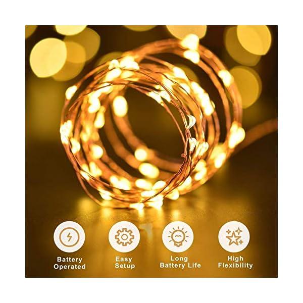 2 Pezzi Stringa Luci LED - 10M/33FT Catene Luminose 100LED Luci Natalizie Batteria Impermeabile IP65, Esterno/Interni Lucine Decorative per Balcone Giardino Feste Natale (Bianco Caldo) 3 spesavip
