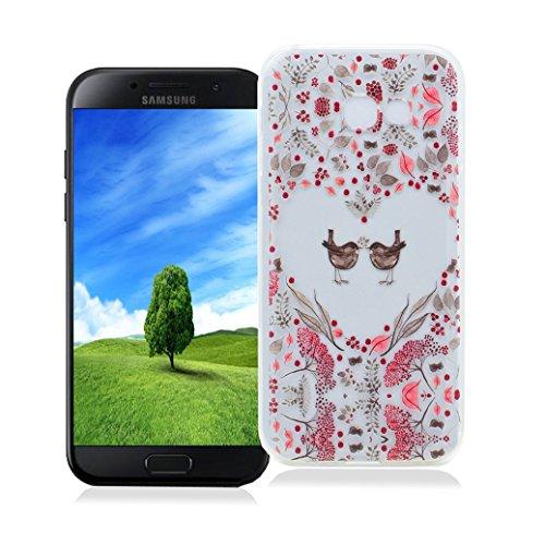 Funda Samsung Galaxy A3 2017 SM-A320F AllDo Carcasa de Silicona TPU Funda Transparente Claro Caja Flexible Suave Carcasa Delgada Lisa Funda Ultra Ligero Smooth Thin Case Cover Bumper Anti Rasguños Ant Pájaros Encantadores