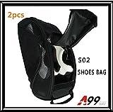 2pcs A99 Golf S02 shoes bag dual NYLON LIGHT WEIGHT BLACK ventilate