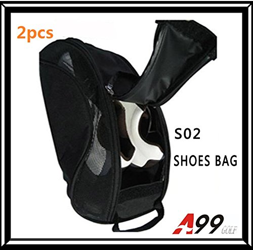 2pcs A99 Golf S02 shoes bag dual NYLON LIGHT WEIGHT BLACK ventilate by A99 Golf