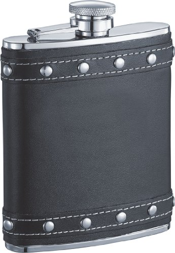 (Visol Rocker Leather Studded Liquor Flask, 6-Ounce, Black)