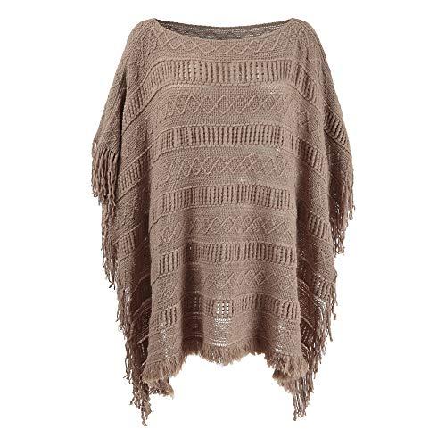 Women's Shawl Poncho Wrap Winter Sweater Cape Pullover Crochet Coat (Khaki) (Poncho Sweater Brown)