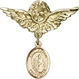 14kt Yellow Gold Baby Badge with St. Aaron Charm and Angel w/Wings Badge Pin 1 1/8 X 1 1/8 inches
