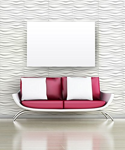 Easy Peel And Stick, Durable Plastic 3D Wall Panel - GAPLESS SERENE Design. 12 Panels. 32 SF