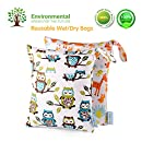 Baby Wet/Dry Bag Splice Cloth Diaper Waterproof Bags Large and Small Size with Zipper Snap Handle Pack of 2 (Giraffe and Owls)