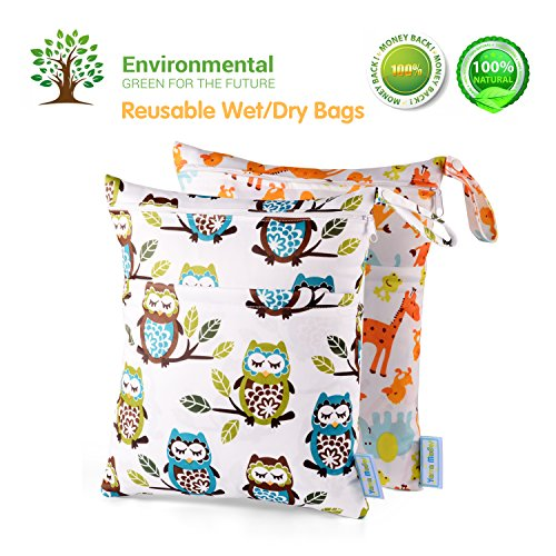 Wet Dry Bag Splice Cloth Diaper Wet Bags Waterproof Double Infant Stroller Travel Small Size Zipper Snap Handing for Swimwear Bathing Suit Baby Kids Reusable (Giraffe and Owls) from Yarra