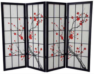 Amazoncom Oriental Furniture Ft Tall Cherry Blossom Shoji - Cherry blossom room divider screen